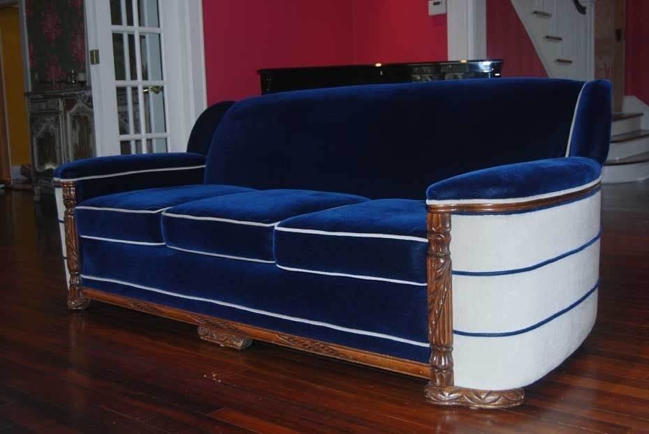 1940s Art Deco Sofa and Club Chair at 1stdibs