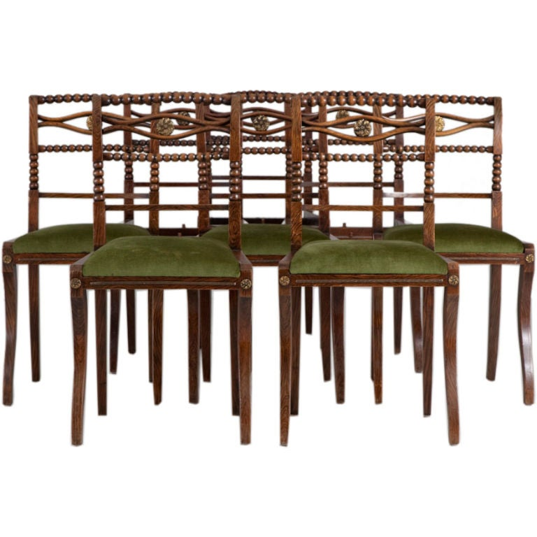 A Set Of Eight Regency Dining Chairs In Simulated Rosewood