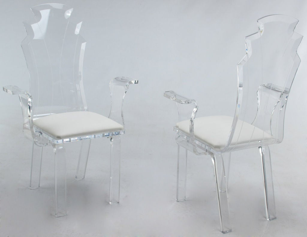 acrylic dining chair rocking template set of six lucite chairs with upholstered seats at