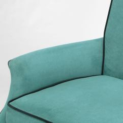 Turquoise Lounge Chair Fold Up Reclining Lawn Chairs Pair Custom High Back Club In Ultrasuede