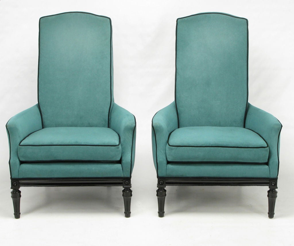 turquoise lounge chair blue kitchen chairs pair custom high back club in ultrasuede