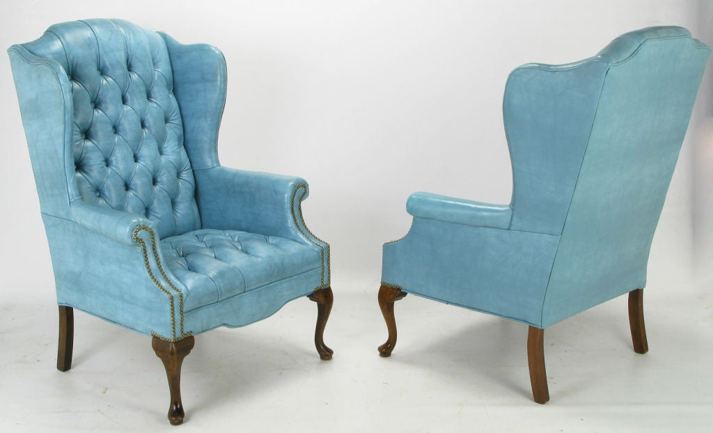 queen anne wingback chair leather most comfortable gaming pair button-tufted columbia blue wing chairs at 1stdibs