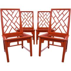 Bamboo Dining Chair Director Covers Ebay Australia Set Of 4 Lacquered Faux Lattice Back Chairs At 1stdibs