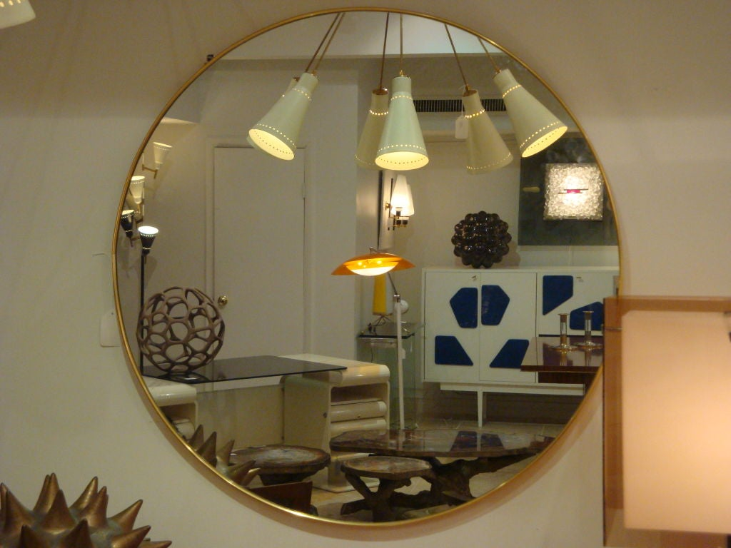 A Large Round Brass Framed Wall Mirror At 1stdibs