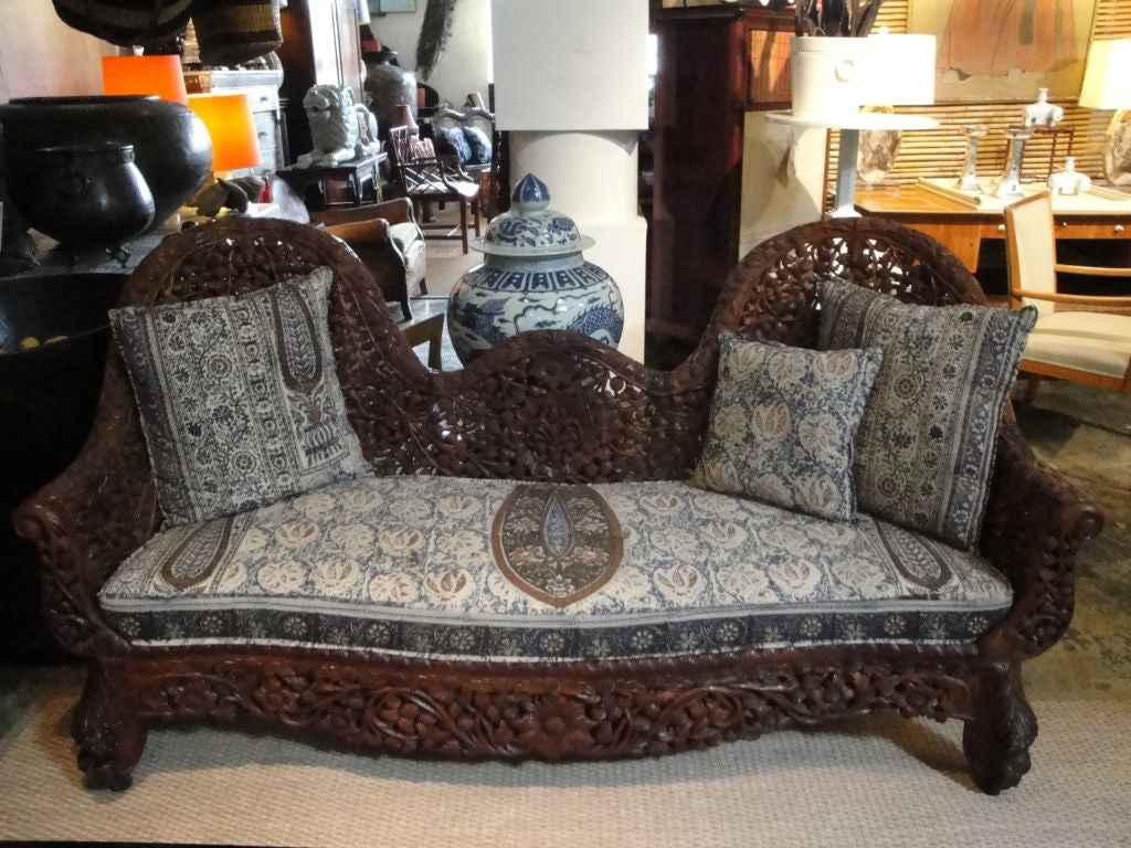 cushions for wooden sofa india sofas made in america indian floral carved with cushion sale at 1stdibs