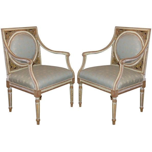 fried egg chair black glider a pair of painted and gilded neoclassical chairs at 1stdibs