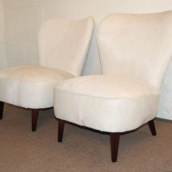 Hair On Hide Chair High End Sale Pair Of Art Moderne Slipper Chairs In White