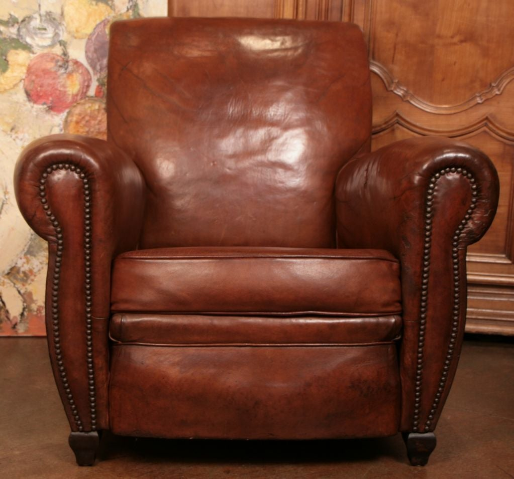 leather chairs for sale zinger wheelchair french art deco period club chair at 1stdibs beautiful with original lamb s skin upholstery brass nail