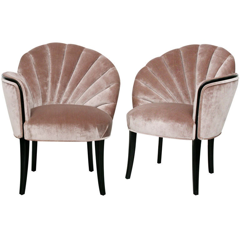 Pair Of 1920s Art Deco Shell Back Boudoir Chairs At 1stdibs