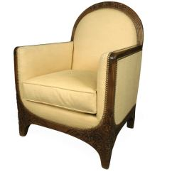 French Bergere Chair And Ottoman Virtual Reality Carved Walnut Art Deco Lounge Chair, France, C. 1930s At 1stdibs