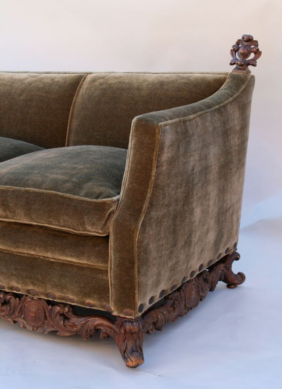 cushions for 3 seater wooden sofa natalia set 1920's couch with hand carved base and new mohair ...