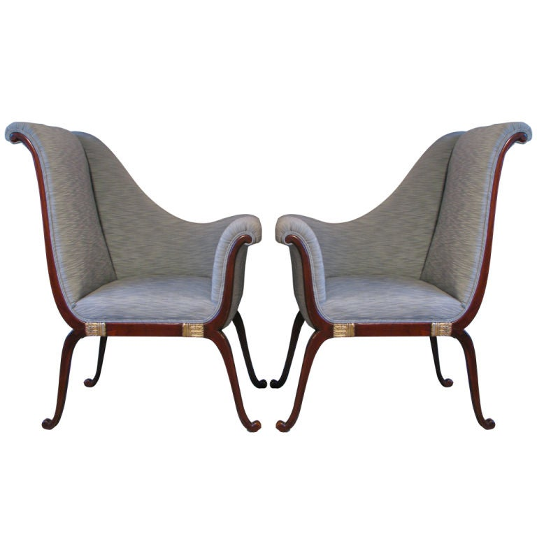 modern outdoor lounge chair canada cheap burlap sashes pair of asymmetrical regency style chairs at 1stdibs