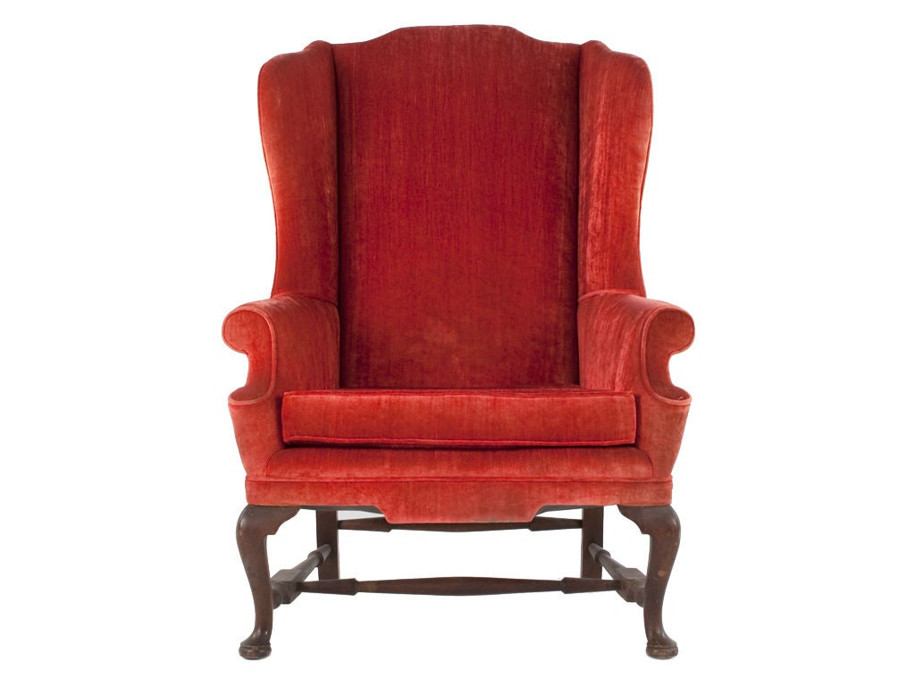 red wing chair cute living room chairs vintage velvet queen anne at 1stdibs