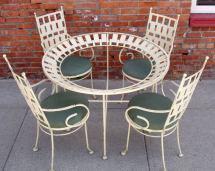 Mid-century Iron Garden Table And Chairs Salterini