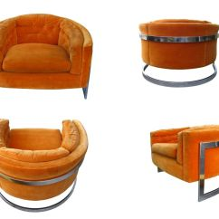 Barrel Back Chair Cowhide Covers Milo Baughman Floating In A Chrome Base