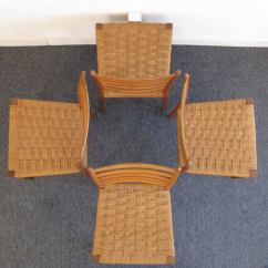 Wicker Ladder Back Chairs Stickley Dining Chair Plans Set Of Four Italian Woven Seat