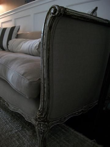 linen bench cushion sofa thomasville maribel sleeper antique french in belgian and down at ...