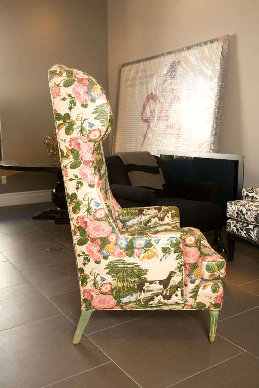 Unusual HighBack Wingback Chair in Original Upholstery at