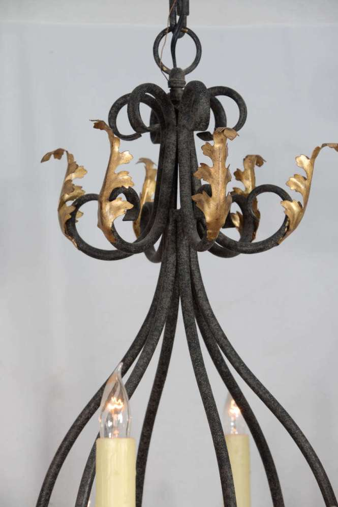 Wrought Iron Nine Light Chandelier With Gold Leaf Acanthus Design 3