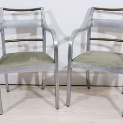 Brushed Aluminum Chairs Black Plastic Outdoors Pair Of Copper And Arm Italy