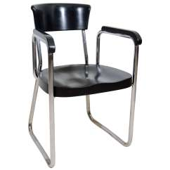 Steel Chair For Office Bouncy Walmart Tubular And Black Lacquer Desk By Thonet At