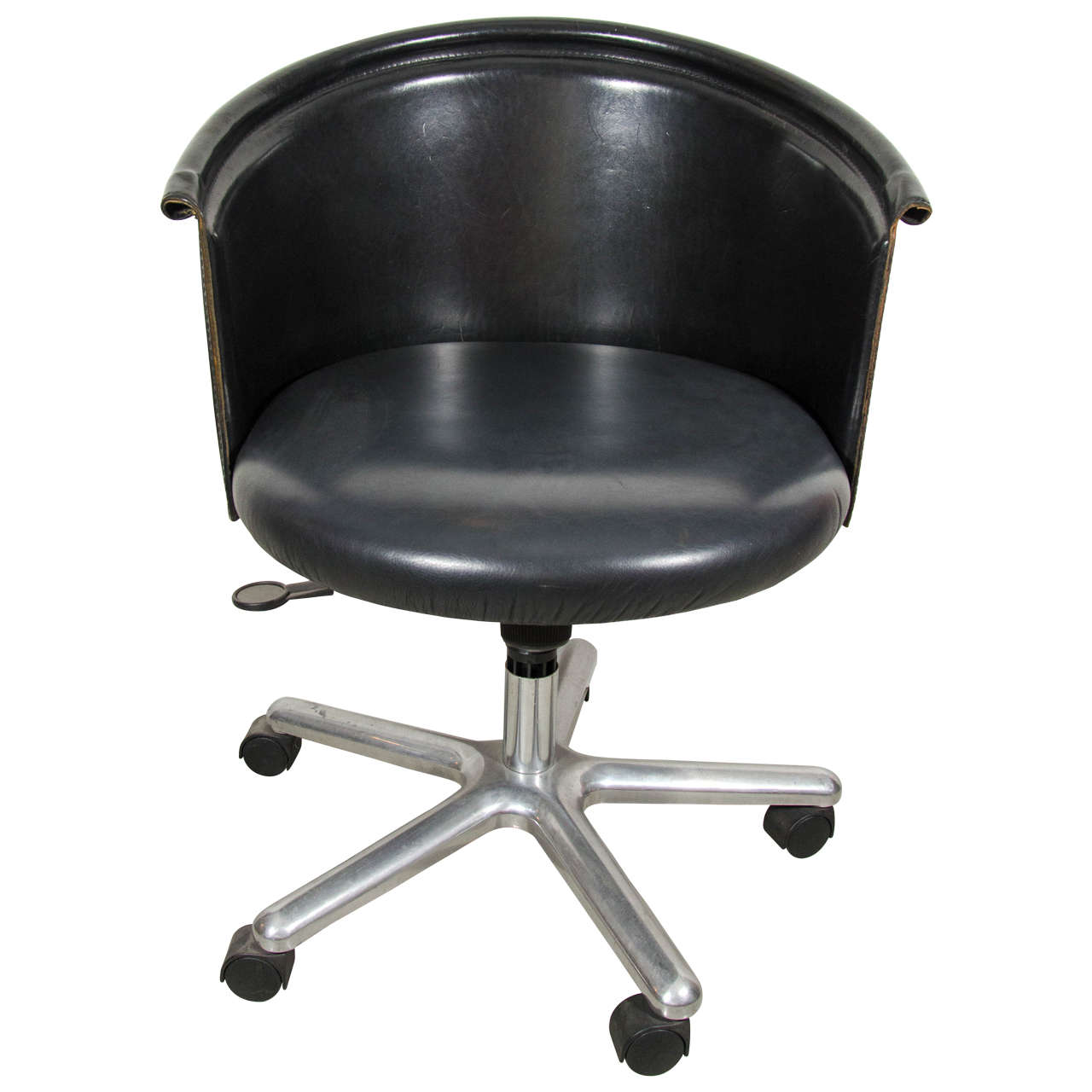 leather bucket chair office reception chairs zanotta desk for sale at 1stdibs
