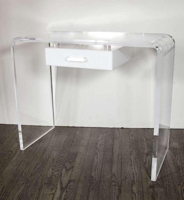 Mid-century Modernist Lucite Waterfall Vanity Desk