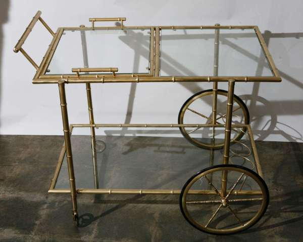 1940' Brass Faux Bamboo Bar Cart 1stdibs