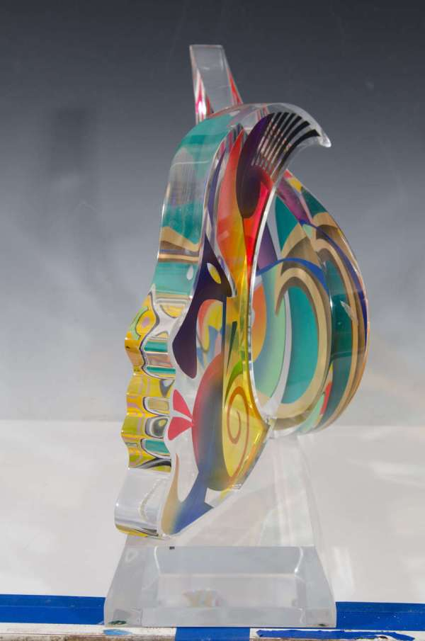 Contemporary Acrylic Sculpture Of Two Faces Israeli