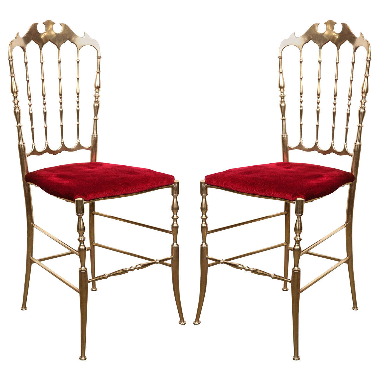 Chiavari Chairs Polished Brass Chiavari Chairs With Red Velvet Italy For
