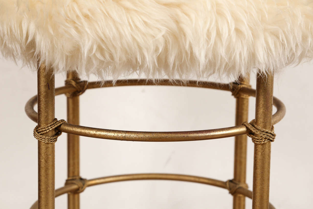 vanity chair white fur throw overs for chairs sheepskin stool sale at 1stdibs