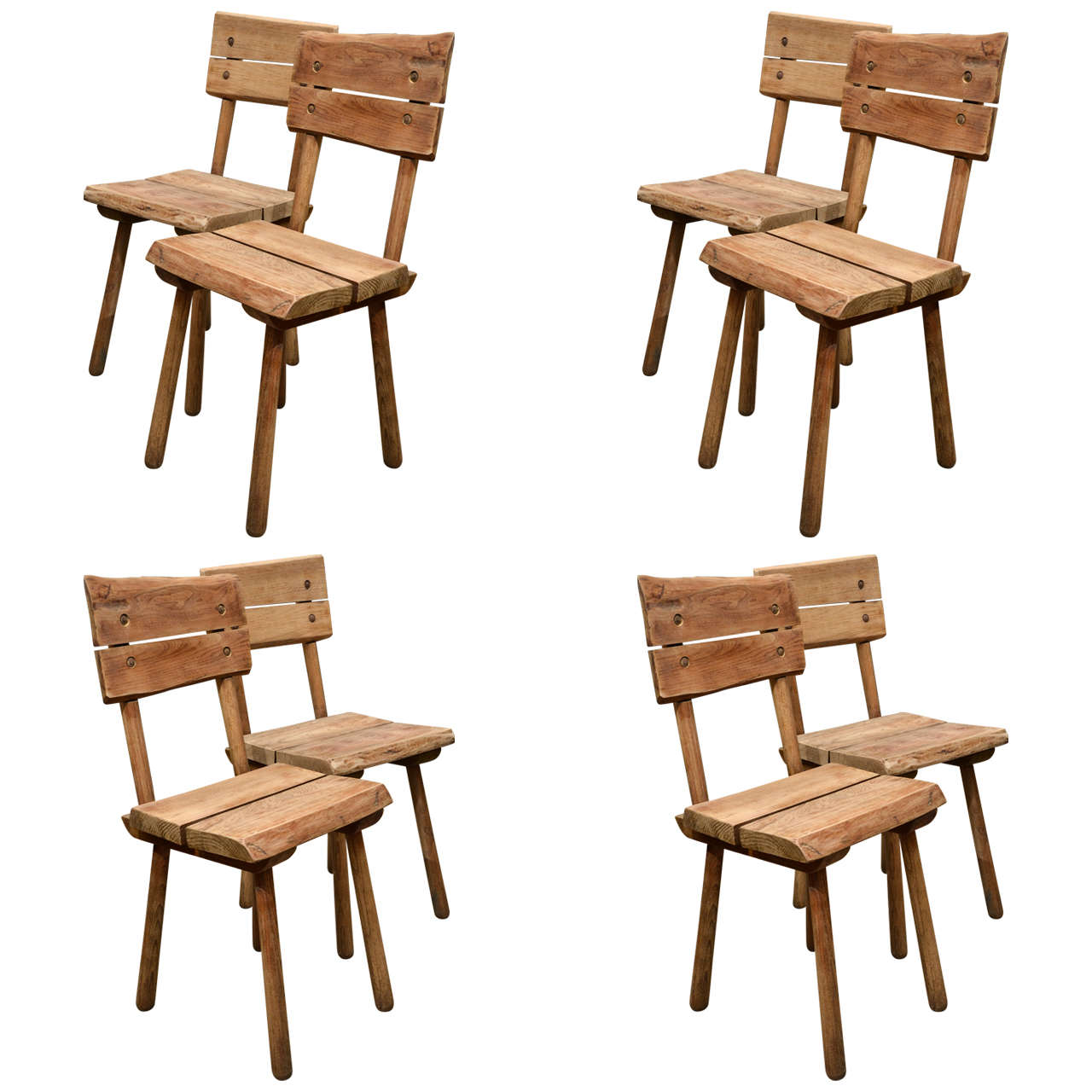 Rustic Dining Chairs Set Of Eight Rustic Oak Dining Chairs For Sale At 1stdibs