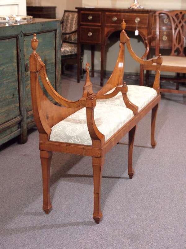 """English Hepplewhite Style """"courting Bench"""" In Walnut"""