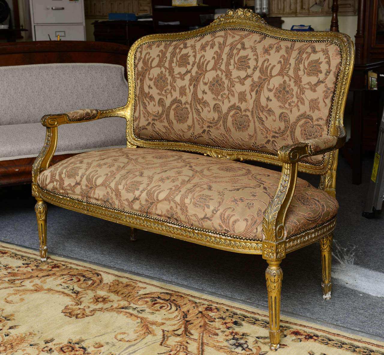 2 seater love chair best ergonomic desk superb french gilt two or seat with chairs