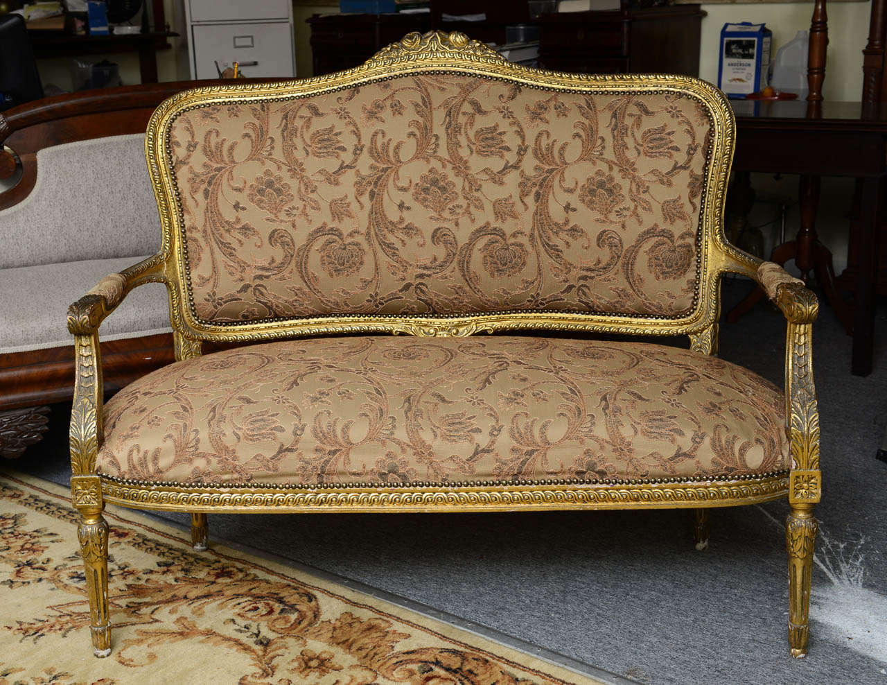 2 seater love chair outdoor covers ebay superb french gilt two or seat with chairs
