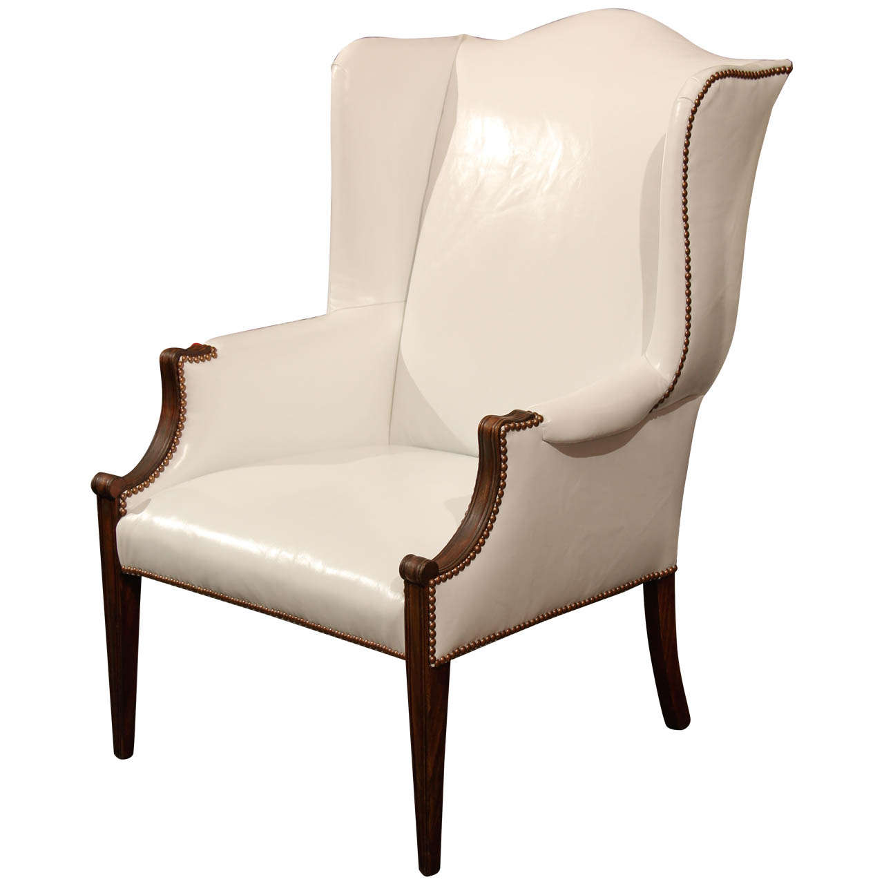 Leather Wing Back Chair White Leather Wingback At 1stdibs
