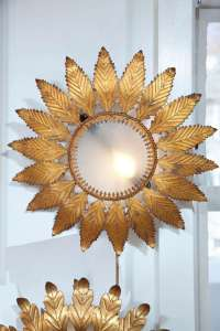 French Gilt Metal Sun Flower Wall or Ceiling Fixture at ...