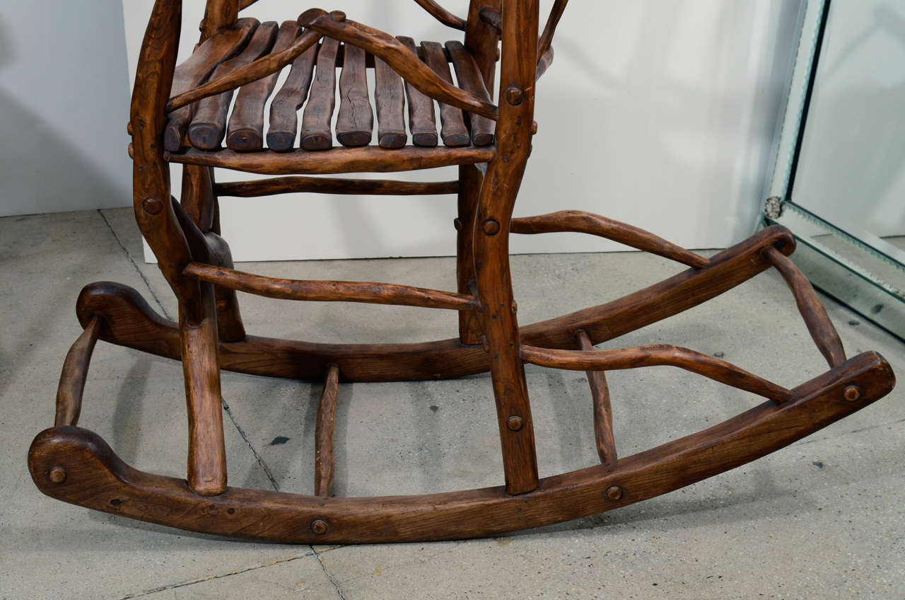 tree branch rocking chair white kitchen chairs folk art for sale at 1stdibs