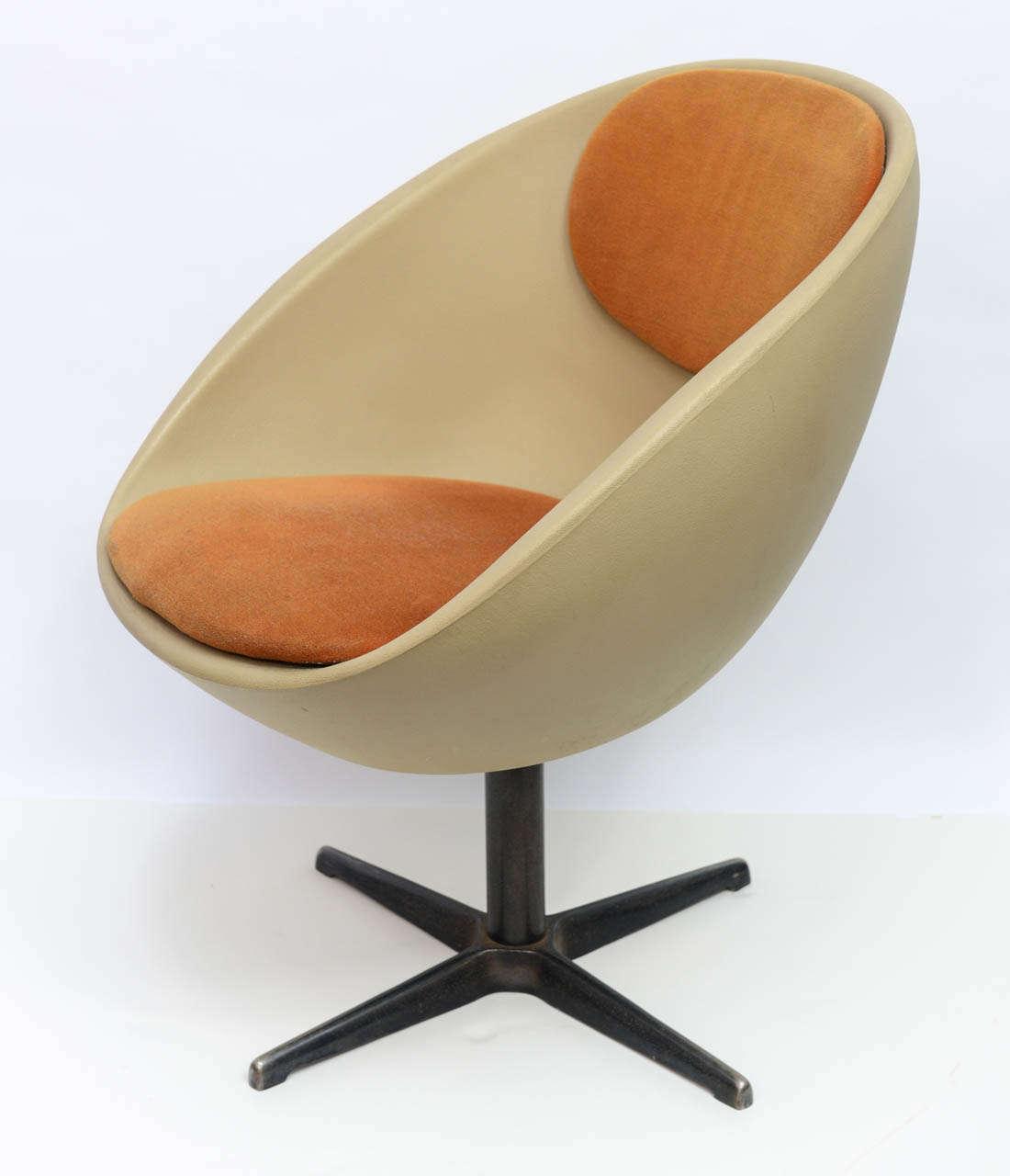 egg desk chair woven hanging pod 1960s ball swivel at 1stdibs