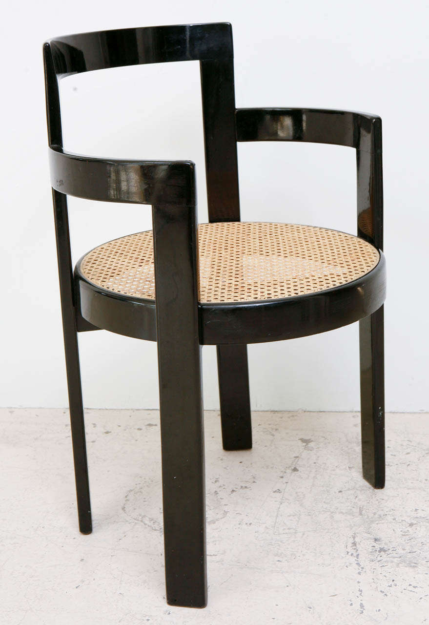 Set of 6 Black Lacquer and Cane Thonet Chairs at 1stdibs