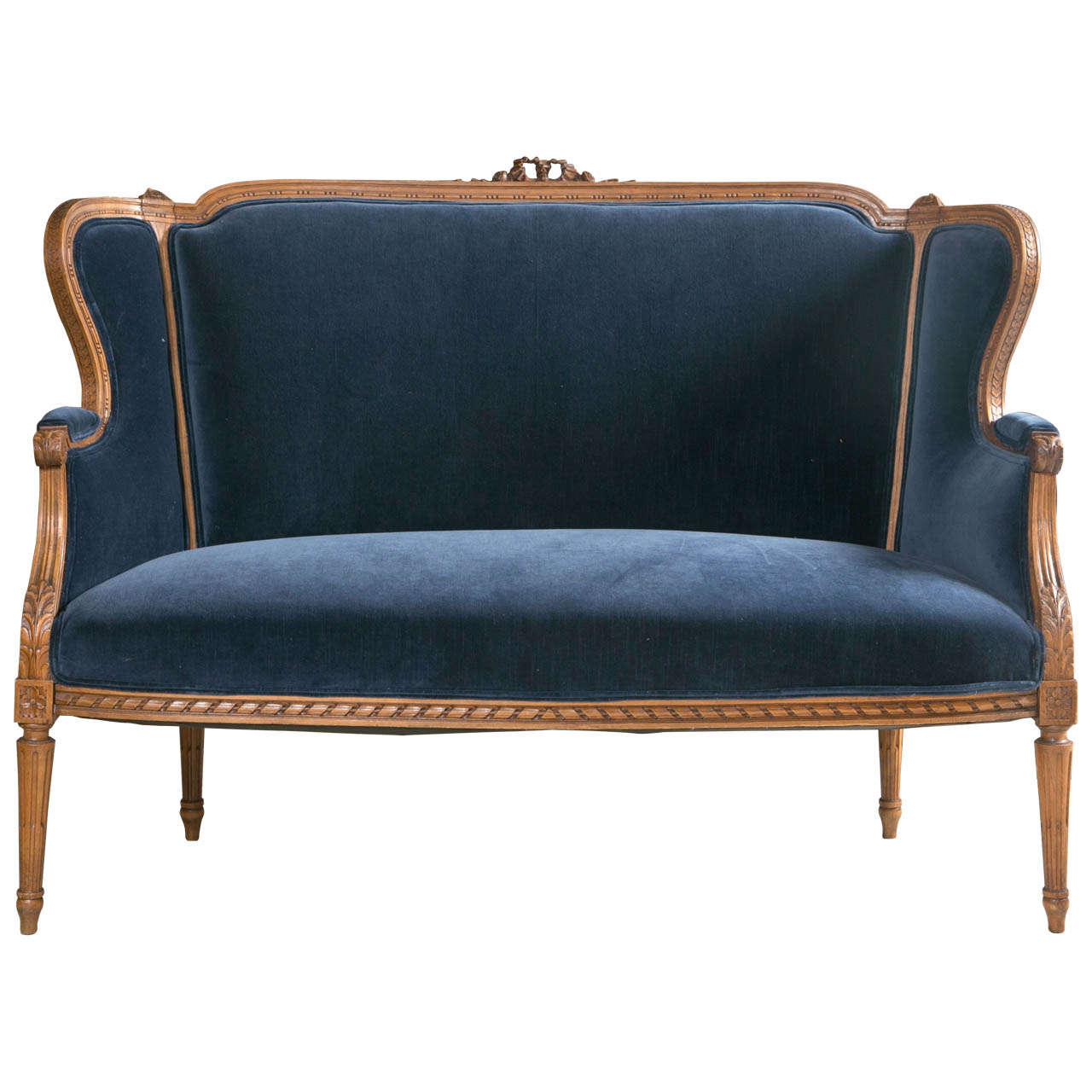 antique pullman sofa bed index living mall 19th c french carved wood framed settee with blue velvet