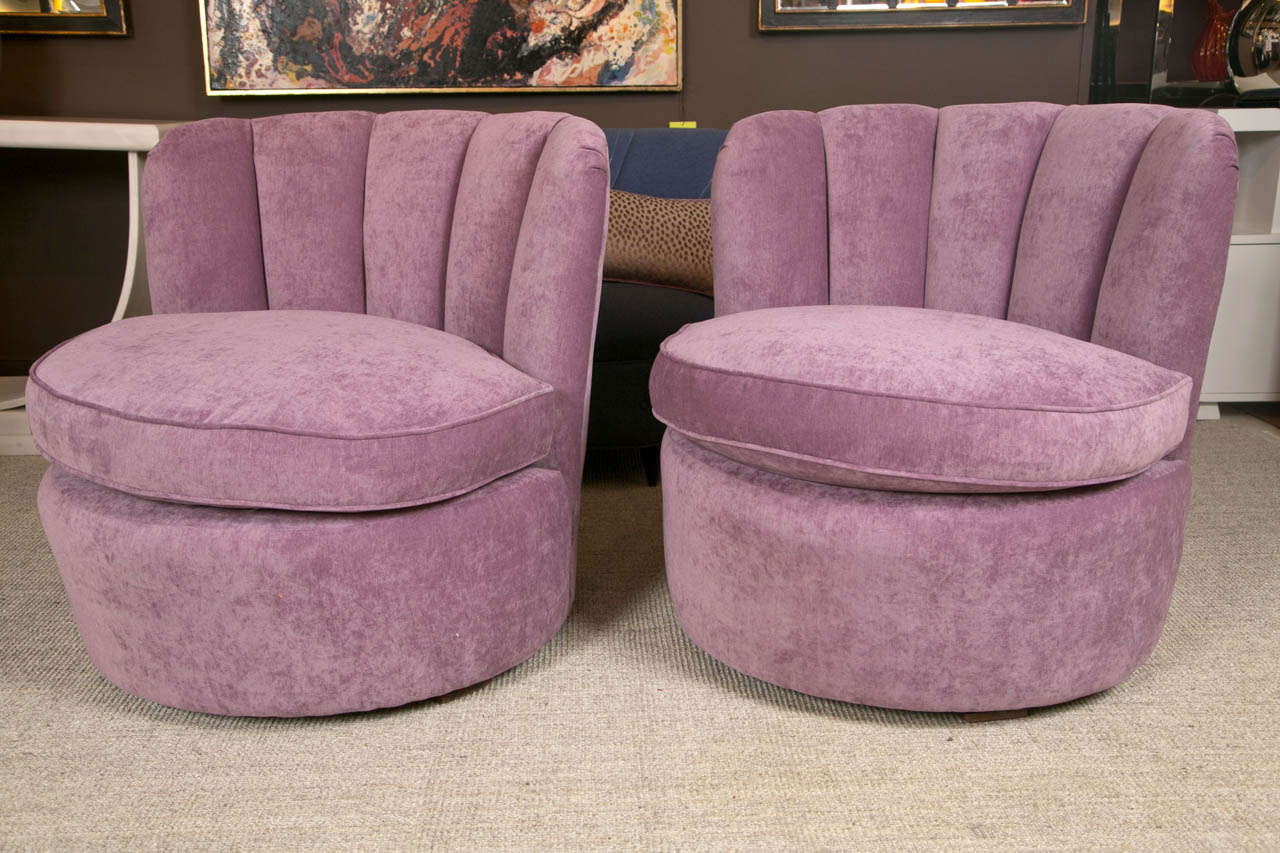 purple swivel chair rent party chairs pair of 1940 39s lounge upholstered in