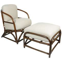 Wicker Chairs With Ottoman Underneath Human Touch Chair Rattan Club At 1stdibs