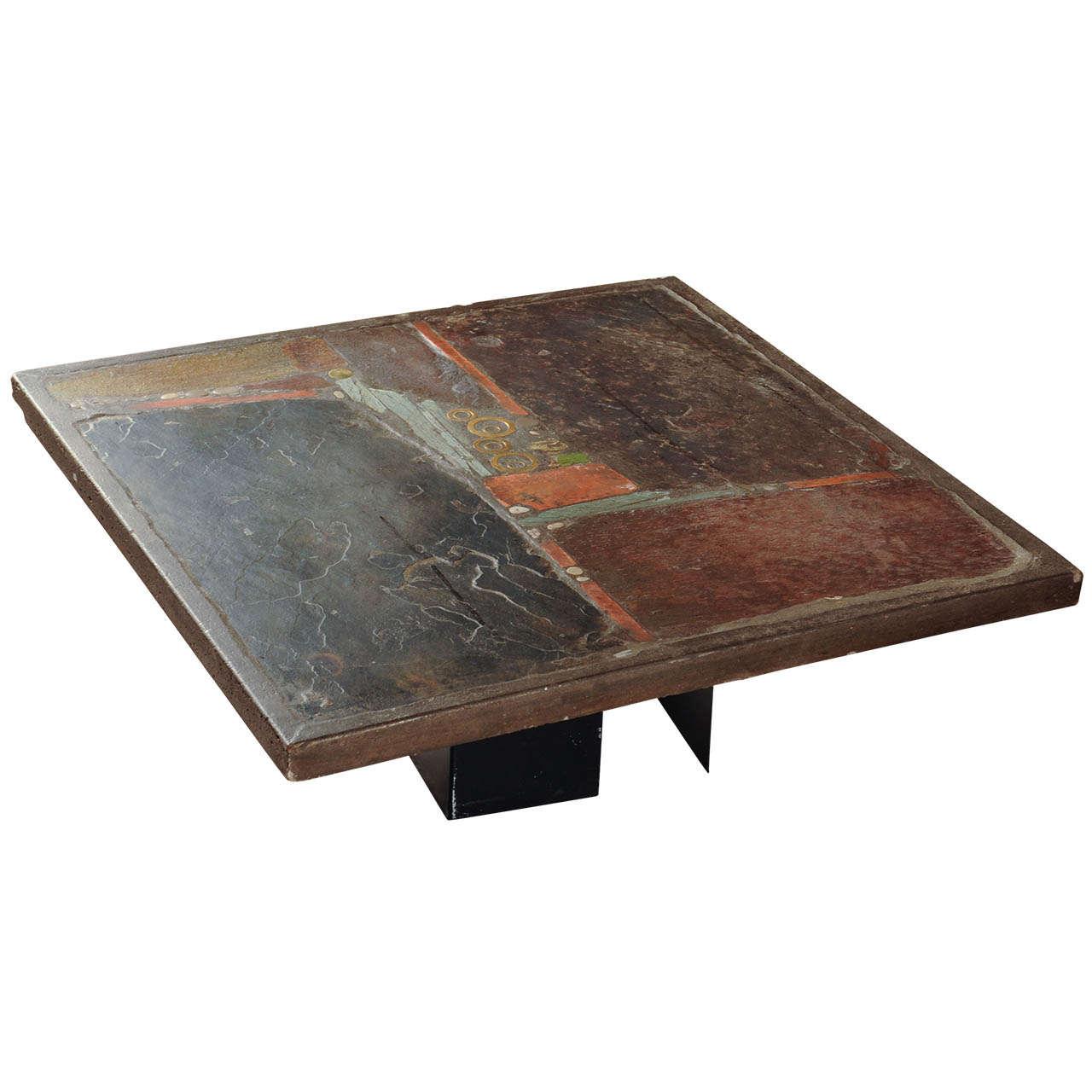 slate stone square coffee table by paul kingma signed kingma 1979