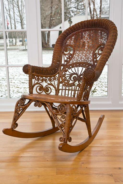 vintage wicker rocking chair posture seat belt antique victorian rocker at 1stdibs for sale 4