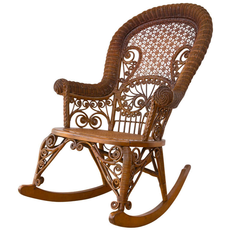 wicker rocking chairs faux leather slipper chair antique victorian rocker at 1stdibs for sale