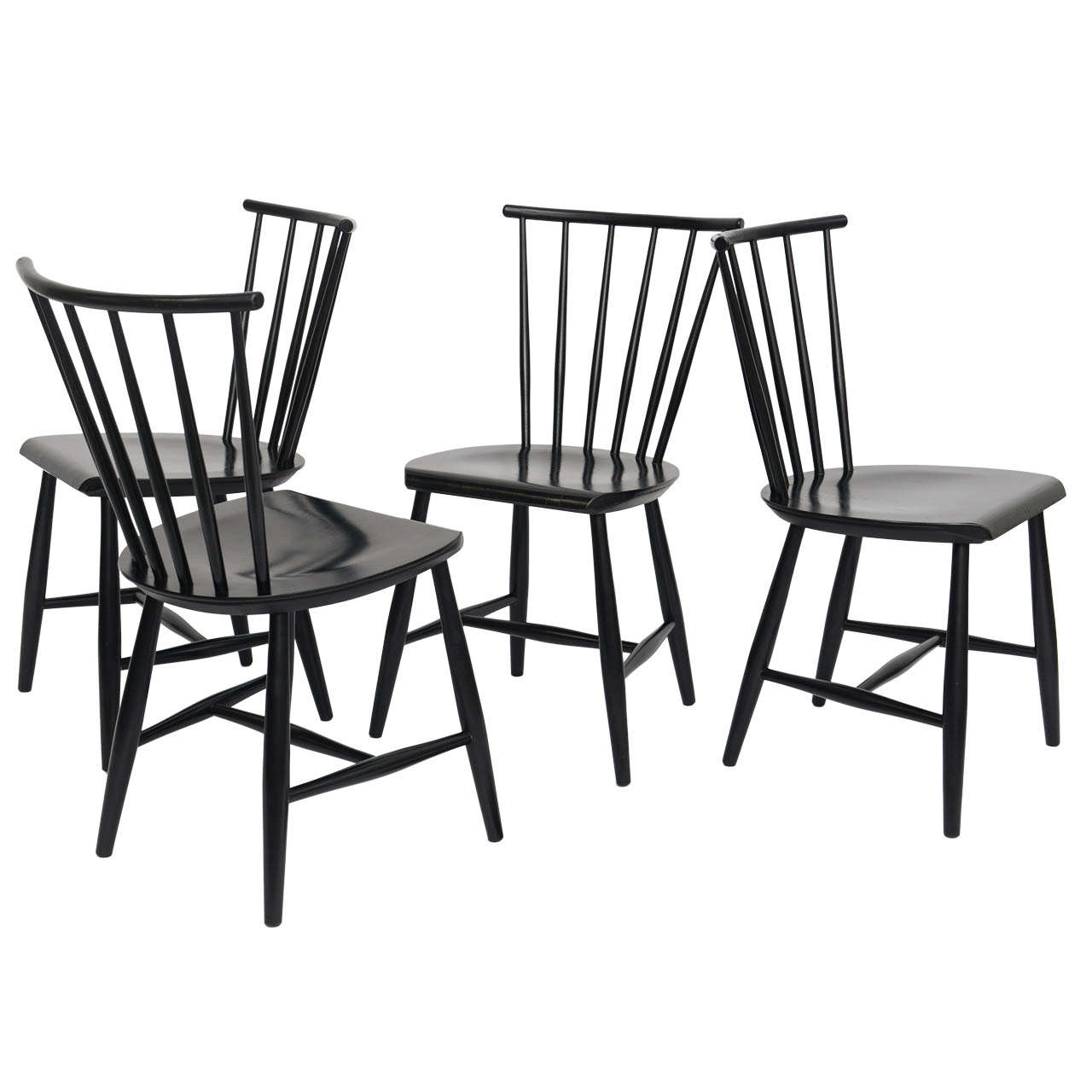 Windsor Chairs Black Four 1950s Swedish Windsor Style Spindle Back Dining Chairs