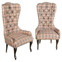 Shaker Ladder Back Chair Sure Fit Covers Canada Pair Of Plaid Tufted Antique Child's Frames At 1stdibs