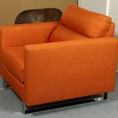 Orange Upholstered Chair Wheel Lifts Pair Of Stylish Modernist Club Chairs In A
