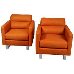 Orange Upholstered Chair Outdoor Patio Table And Chairs Pair Of Stylish Modernist Club In A